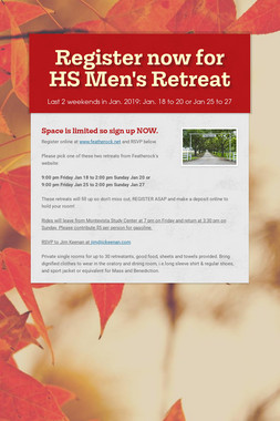 Register now for HS Men's Retreat