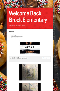 Welcome Back Brock Elementary