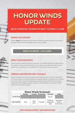 Honor Winds Update