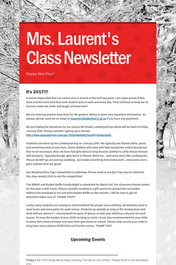Mrs. Laurent's Class Newsletter