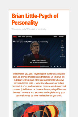 Brian Little-Psych of Personality