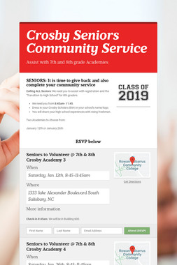Crosby Seniors Community Service