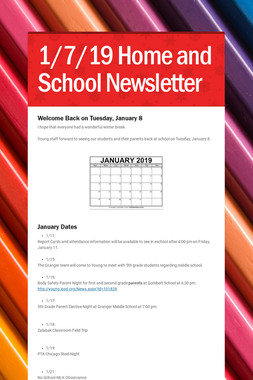 1/7/19 Home and School Newsletter