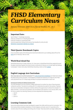 FHSD Elementary Curriculum News