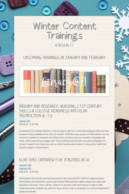 Winter Content Trainings
