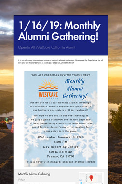 1/16/19: Monthly Alumni Gathering!