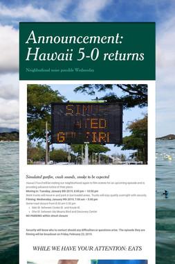 Announcement: Hawaii 5-0 returns
