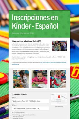 Inscripciones en Kínder - Español