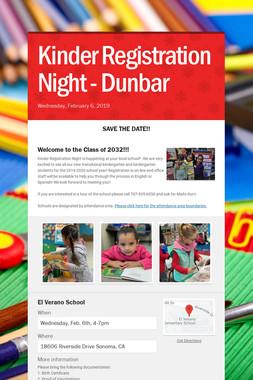 Kinder Registration Night - Dunbar