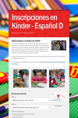 Inscripciones en Kínder - Español D