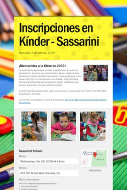 Inscripciones en Kínder - Sassarini