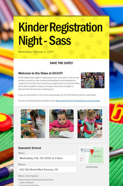 Kinder Registration Night - Sass