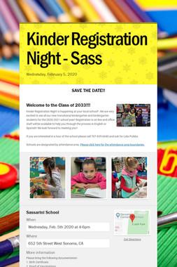 Kinder Registration Night - Sass