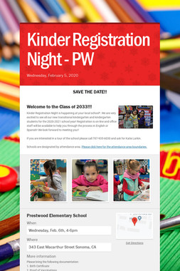 Kinder Registration Night - PW