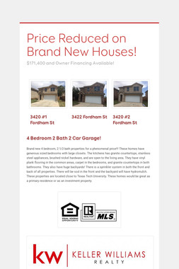Price Reduced on Brand New Houses!