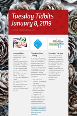 Tuesday Tidbits January 8, 2019