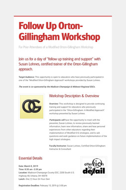 Follow Up Orton-Gillingham Workshop