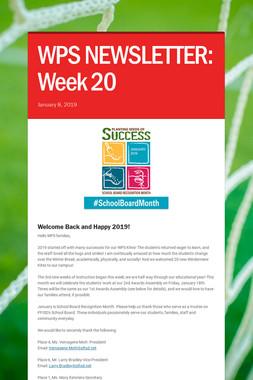 WPS NEWSLETTER: Week 20