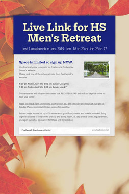 Live Link for HS Men's Retreat