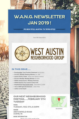 W.A.N.G. Newsletter JAN 2019 !