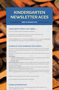 Kindergarten Newsletter  ACES