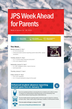 JPS Week Ahead for Parents