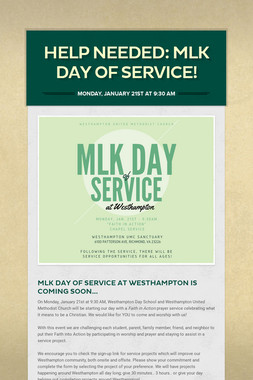 Help Needed: MLK Day of Service!