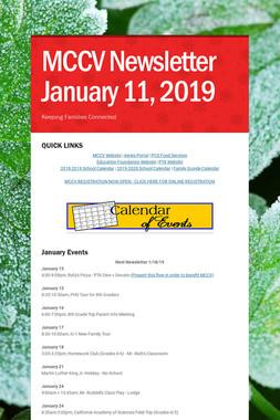 MCCV Newsletter January 11, 2019
