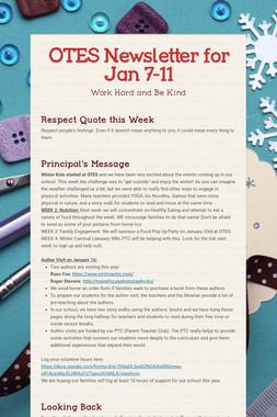 OTES Newsletter for Jan 7-11