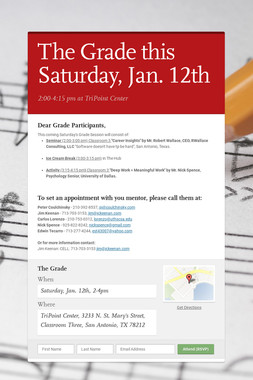 The Grade this Saturday, Jan. 12th