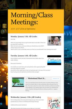 Class Meetings: 1/14 - 1/18