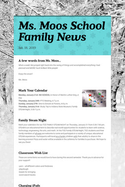 Ms. Moos School Family News
