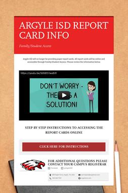 ARGYLE ISD  REPORT CARD INFO