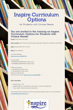 Inspire Curriculum Options