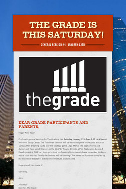 The Grade is this Saturday!