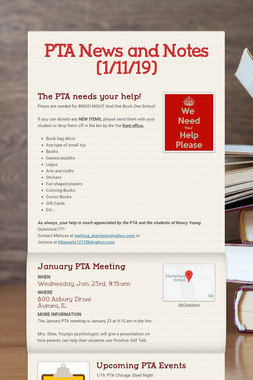 PTA News and Notes (1/11/19)