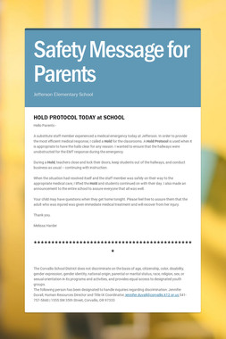 Safety Message for Parents
