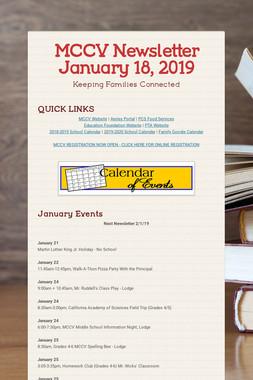 MCCV Newsletter January 18, 2019