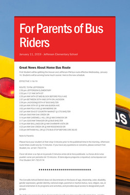 For Parents of Bus Riders