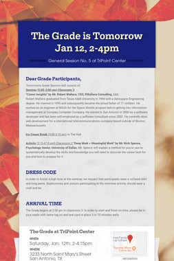 The Grade is Tomorrow Jan 12, 2-4pm