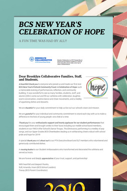 BCS NEW YEAR'S CELEBRATION OF HOPE