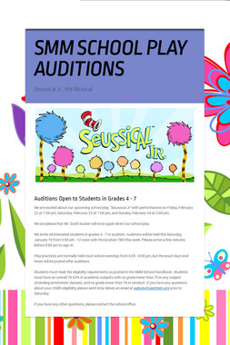 SMM SCHOOL PLAY AUDITIONS