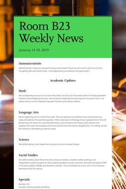 Room B23 Weekly News
