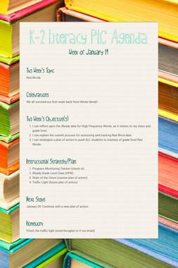 K-2 Literacy PLC Agenda