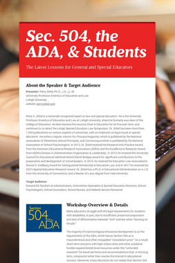 Sec. 504, the ADA, & Students