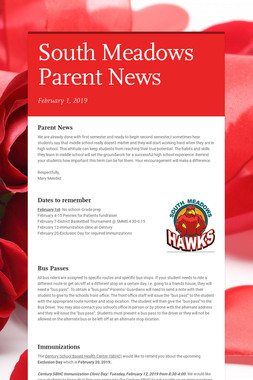South Meadows Parent News