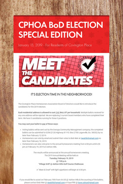 CPHOA BoD ELECTION SPECIAL EDITION