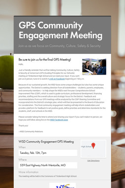 GPS Community Engagement Meeting