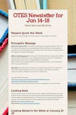 OTES Newsletter for Jan 14-18