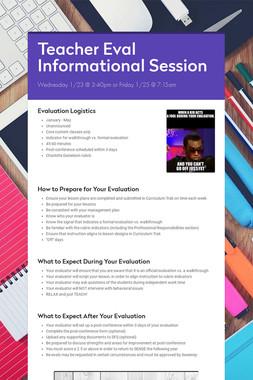 Teacher Eval Informational Session